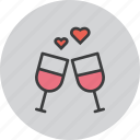 date, day, love, romance, toast, valentines, wine icon