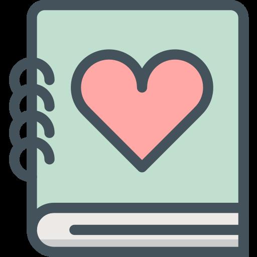 love, notebook, valentines icon