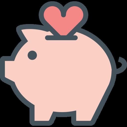 heart, money, pig icon