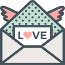 love, mail, valentines, wings icon