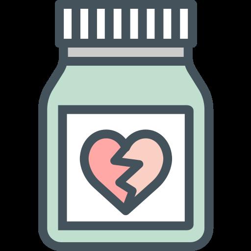 love, pills, pot icon
