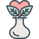 flower, heart, vase icon