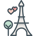 eiffeltower, hearts, love, paris icon