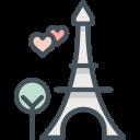 paris, hearts, love, eiffeltower icon