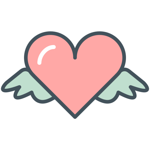 heart, valentines, wings icon