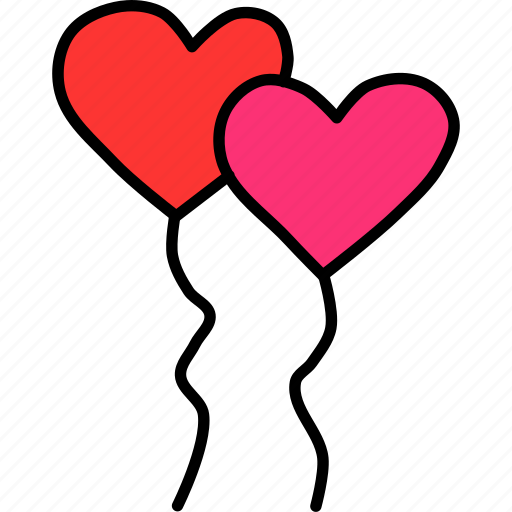 balloon, celebrate, heart, love, romance, valentines, wedding icon