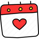 calendar, day, event, love, romance, valentines, wedding icon