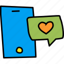 chat, love, message, mobile, phone, romance, valentines icon