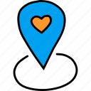 day, location, love, marker, pin, romance, valentines icon
