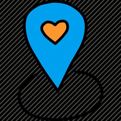 day, location, love, marker, pin, romance, valentines icon