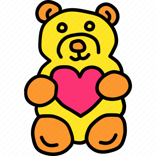 Gift, love, romance, valentines, heart, teddy bear, hygge icon - Download on Iconfinder