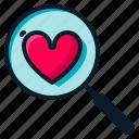 find, heart, love, search, valentine icon