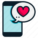 chat, heart, love, mail, message, mobile, valentine