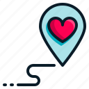 heart, location, love, map, pin, romantic, valentine