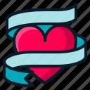 heart, love, ribbon, romantic, valentine icon