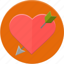 arrow, heart, love, valentines icon