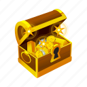 coin, gold, money, treasure, chest, reward, achievement