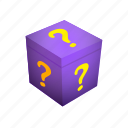 box, gift, mark, present, prize, question, surprise icon