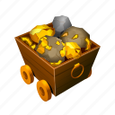 gold, car, treasure, mine, money, coin, tools