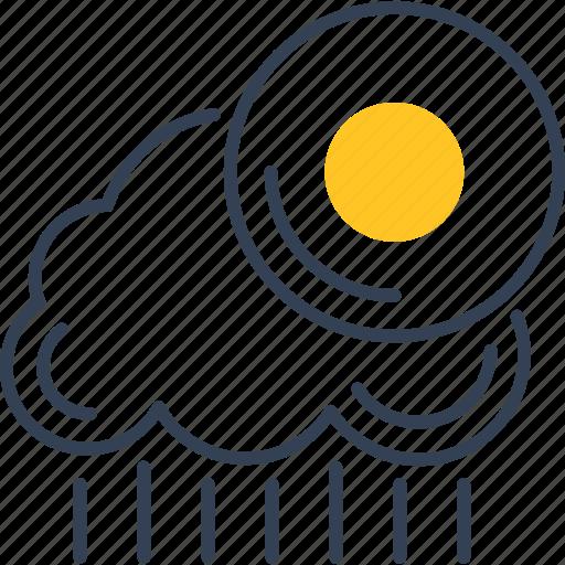 cloud, rain, sun, vankuver, weather icon