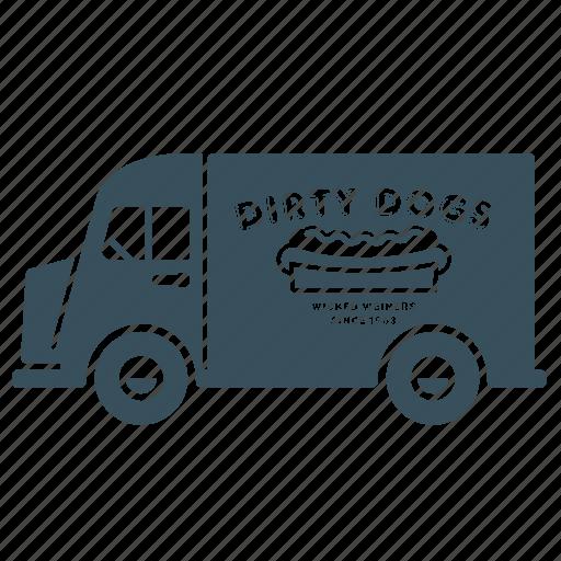 delivery, hotdog, transport, truck, van, vehicle icon