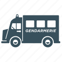delivery, police, transport, truck, van icon