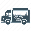 delivery, hotdog, transport, truck, van icon