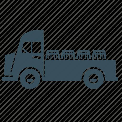 barrel, beer, delivery, transport, truck, van icon