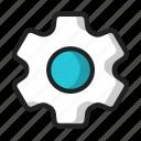 blue, cog, gear, machine icon