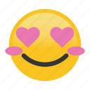 blush, emoticon, happy, heart, smile icon