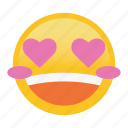blush, emoticon, happy, heart, smile icon