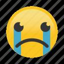 cry, emoticon, frown, sad icon