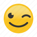 emoticon, happy, smile, wink icon