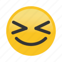 emoticon, happy, smile, squint icon