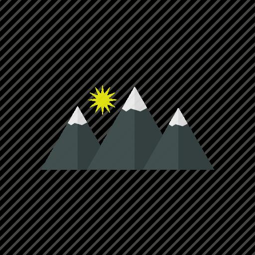 design, mountain, rock, sky, snow, sun icon