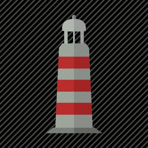 building, design, light, lighthouse, night, sea icon