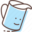 cup, drink, glass, milk, spill, water icon