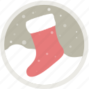 celebration, christmas, decoration, gift, holiday, socks, xmas icon