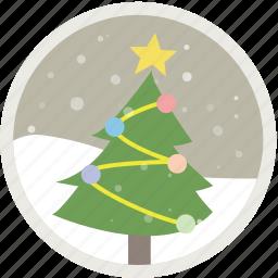 celebration, christmas, decoration, holiday, snow, tree, xmas icon