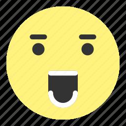 amazed, emoji, emotion, face, hovytech, shout, teeth icon