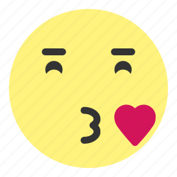 blow, emoji, face, heart, hovytech, kiss, love icon