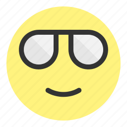 cool, emoji, face, glass, glasses, hovytech, smile icon