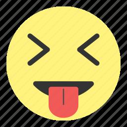 crazy, emoji, face, hovytech, laugh, sour, tongue icon