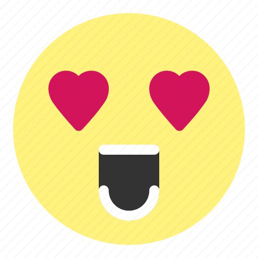 crazy, emoji, face, happy, heart, hovytech, love icon