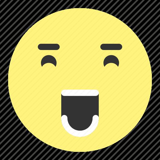 emoji, face, happy, hovytech, joyful, teeth, tiered icon
