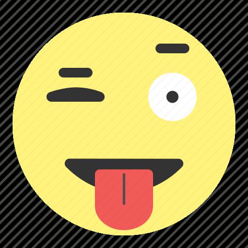 crazy, emoji, eye, face, hovytech, kidding, tongue icon