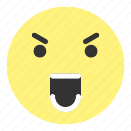 angry, emoji, face, hovytech, rage, shout, teeth icon