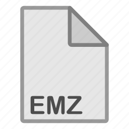adobe, emz, extension, file, format, hovytech, type icon