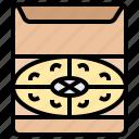 box, cheese, party, pizza, vegan icon