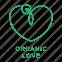 heart, valentines, organic, leaf, veggie love icon